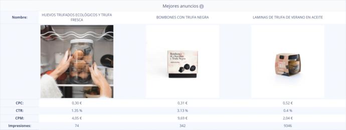"""Nirvine KPI sección """"Facebook Ads"""""""