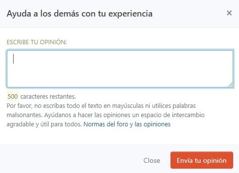 Valoración escribir opinión empresa Vodafone España